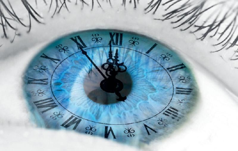 Kuvituskuva, lähikuva silmästä, jossa kellotaulu.